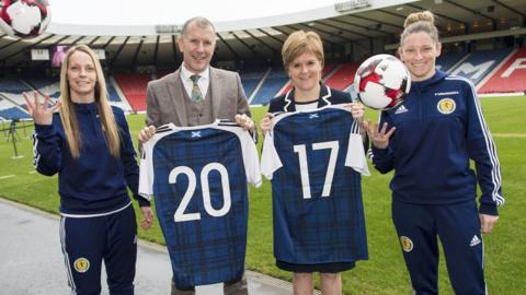 First Minster Nicola Sturgeon and SFA chief executive Stewart Regan helped promote the announcement