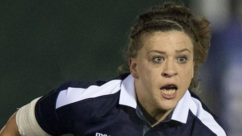 Jemma Forsyth in action for Scotland Women in their World Cup qualifier against Spain in November