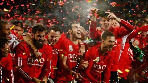 Wales celebrate Euro qualification