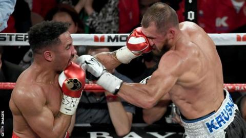 Andre Ward (left) catches Sergey Kovalev during their rematch