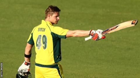 Australia captain Steve Smith celebrates his century