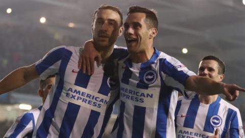 Brighton celebrate goal against Leeds