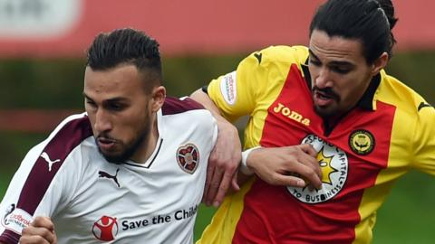 Hearts' Faycal Rherras and Partick Thistle's Ryan Edwards