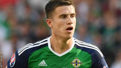 Paddy McNair playing for Northern Ireland