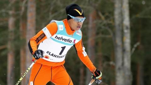 """Adrian Solano of Venezuela competes in the men""""s 10km Individual Classic Qualification Round during the FIS Nordic World Ski Championships in Lahti, Finland, 22 February 2017."""