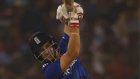 Joe Root bats for England