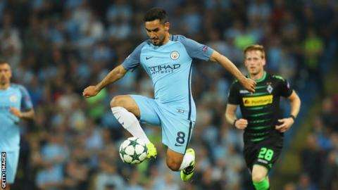 Ilkay Gundogan made his Manchester City debut in the Champions League on Wednesday