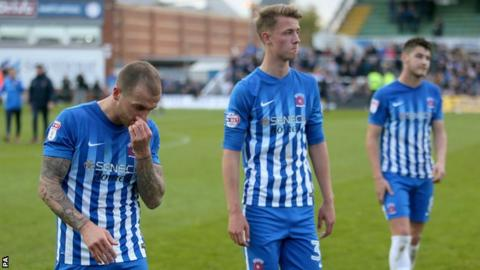 Hartlepool players look dejected after relegation