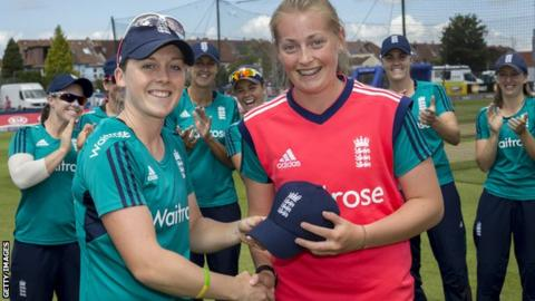 Heather Knight presents Sophie Ecclestone with her cap before the 1st Natwest International T20 played between England Women and Pakistan Women at The County Ground on July 3, 2016 in Bristol, England.