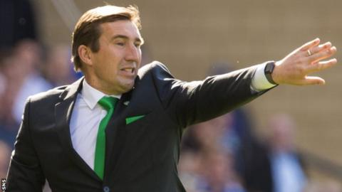 Alan Stubbs makes a point during Hibs' Scottish Cup final win over Rangers