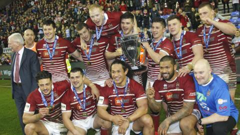 Wigan Warriors celebrate their World Club Challenge victory