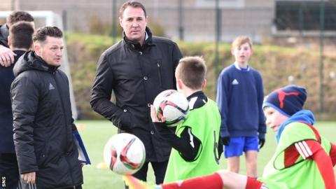 Coach James Grady and SFA performance director Malky Mackay