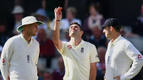 James Anderson, Stuart Broad and Toby Roland-Jones