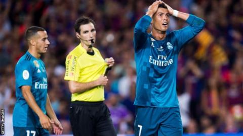 Ronaldo banned for five matches after pushing referee in win over Barcelona