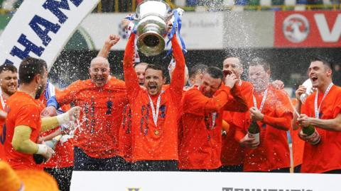 Glenavon celebrate winning the Irish Cup