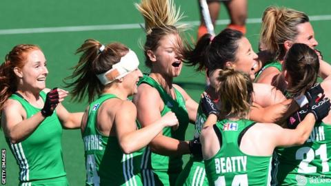 Ireland celebrate after beating India to finish seventh at World League in Johannesburg last month