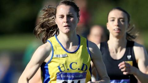 Portaferry runner Ciara Mageean on her way to victory in the 800m at Santry on Sunday