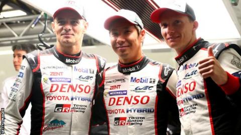 Stephane Sarrazin, Kamui Kobayashi and Mike Conway