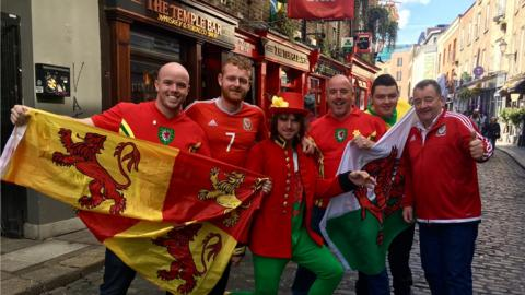 Wales fans in Temple Bar, Dublin