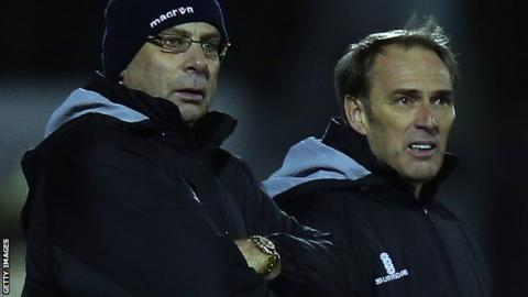 Woking manager Garry Hill and assistant manager Steve Thompson
