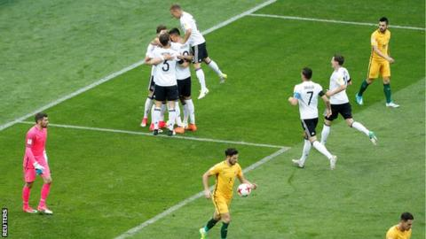 Lars Stindl celebrates scoring for Germany against Australia at the Confederations Cup
