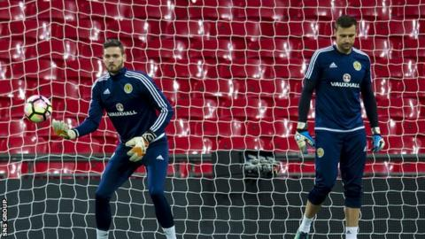 David Marshall (right) lost his place to Craig Gordon for the 3-0 defeat at Wembley