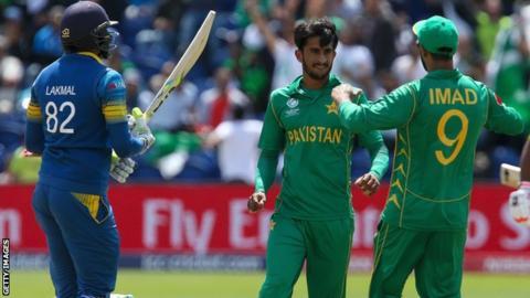 Pakistan's Hasan Ali celebrates the wicket of Sri Lanka's Suranga Lakmal