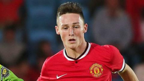 Jordan Thompson in action for Manchester United's Under-17 side at the NI Milk Cup