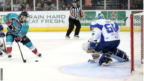 Giants forward Steve Saviano goes through on the Flyers goal in the first leg on Saturday night