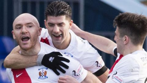 Conor Sammon (left) celebrates scoring for Kilmarnock