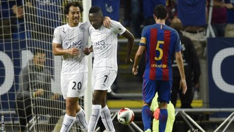 Ahmed Musa celebrates scoring for Leicester City against Barcelona