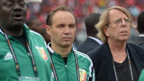 Sebastien Migne (centre) was assistant coach to Claude LeRoy when the latter was in charge of Congo.
