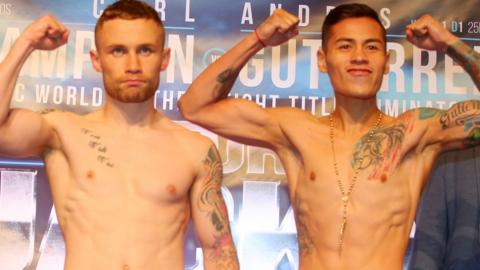 Carl Frampton and Andre Gutierrez at Friday's weigh-in