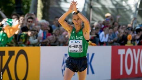Robert Heffernan completes the 50km walk in London on Sunday