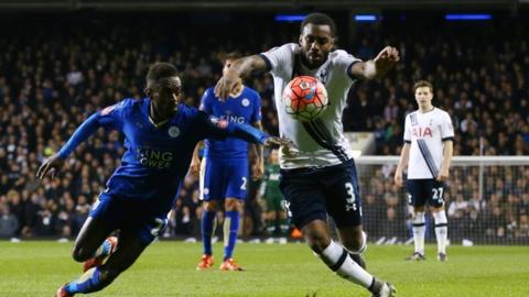 Leicester's Nathan Dyer is judged to have handled the ball