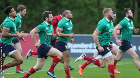 British and Irish Lions training in Wales