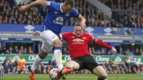 Everton captain Phil Jagielka tussles with Manchester United's Wayne Rooney