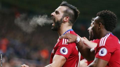 Alvaro Negredo celebrates a Middlesbrough goal