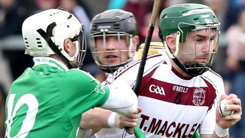 Gerard Bradley (right) had a tremendous game for Slaughtneil