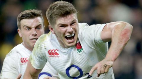 Owen Farrell celebrates England's third-Test win in the summer over Australia