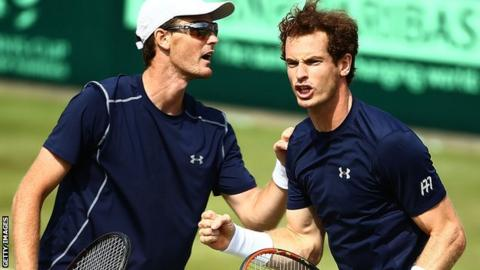 Andy Murray (right) with brother Jamie Murray