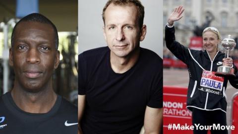 Michael Johnson, Greg Whyte and Paula Radcliffe