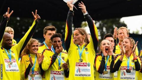 Germany celebrate winning their team title