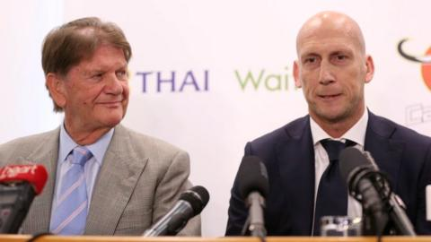 Sir John Madejski and Jaap Stam