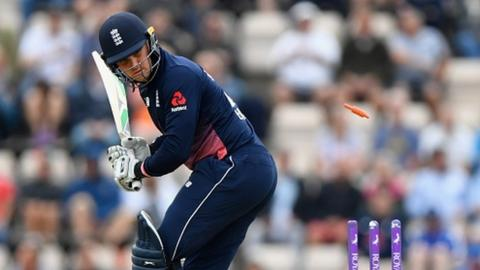 Jason Roy is bowled