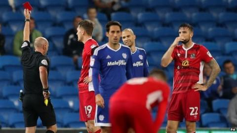 Shane Duffy (22) is sent-off against Cardiff