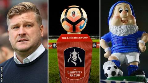 Karl Robinson, an FA Cup ball and Eastleigh's gnome