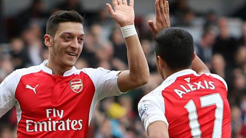 Arsenal's Mesut Ozil and Alexis Sanchez