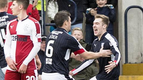 Dundee celebrate Kevin Holt's goal against Rangers
