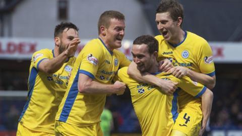 Chris Kane celebrates scoring for St Johnstone against Ross County